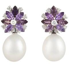 Ella Gafter Lavender Sapphire South Sea Pearl Earrings Flower Design