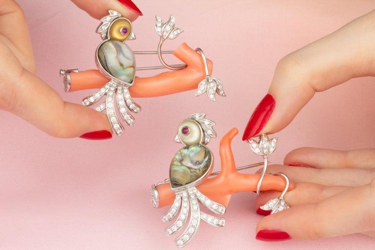 Ella Gafter Love Bird Diamond Brooch Pin For Sale 10