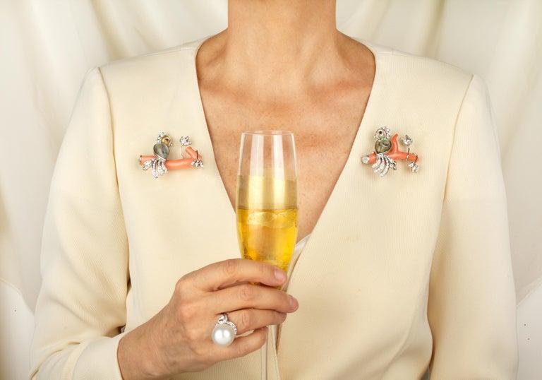 Ella Gafter Love Bird Diamond Brooch Pin For Sale 11