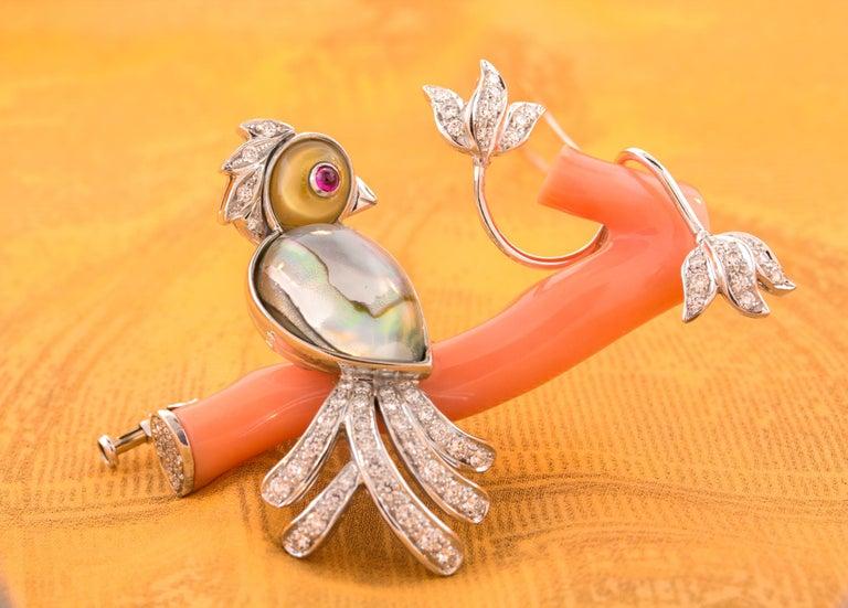 Ella Gafter Love Bird Diamond Brooch Pin For Sale 5