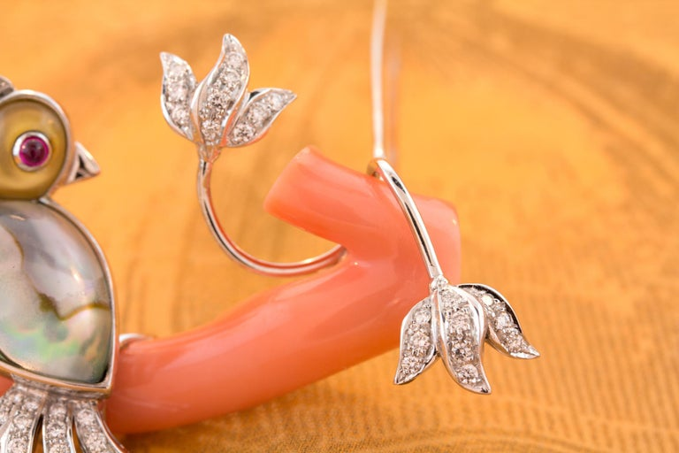 Ella Gafter Love Bird Diamond Brooch Pin For Sale 6