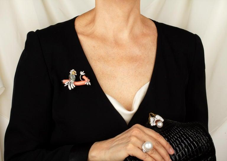 Artist Ella Gafter Love Bird Diamond Brooch Pin For Sale