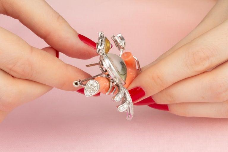 Women's or Men's Ella Gafter Love Bird Diamond Brooch Pin For Sale