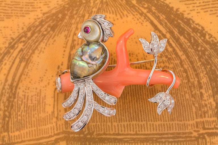 Ella Gafter Love Bird Diamond Pin Brooch  For Sale 2