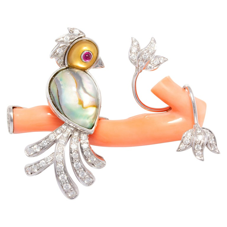 Ella Gafter Love Bird Diamond Brooch Pin For Sale