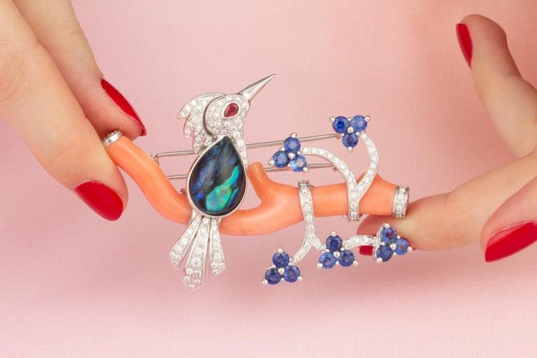 Artist Ella Gafter Love Bird Sapphire Diamond Pin Brooch  For Sale
