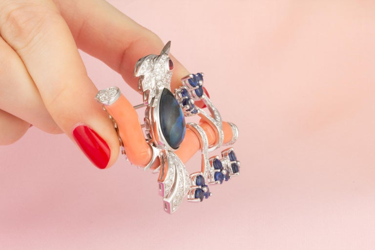 Women's Ella Gafter Love Bird Sapphire Diamond Pin Brooch  For Sale