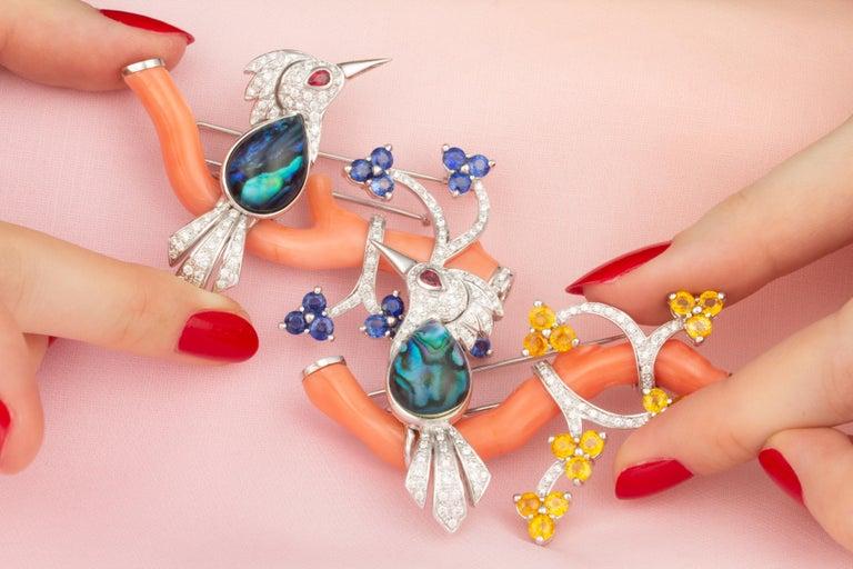 Ella Gafter Love Bird Sapphire Diamond Pin Brooch  For Sale 1