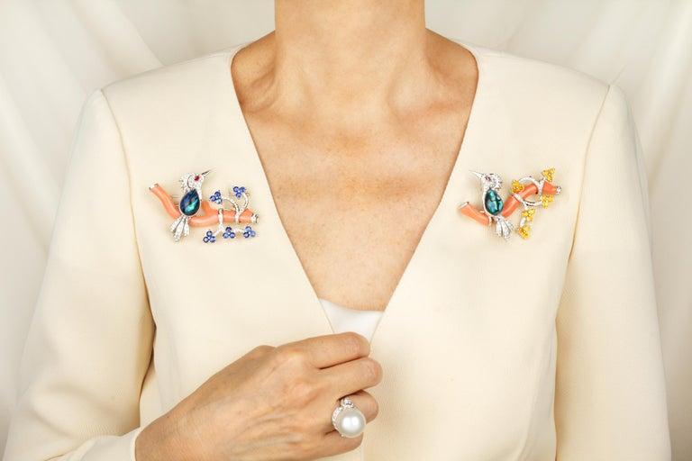 Ella Gafter Love Bird Sapphire Diamond Pin Brooch  For Sale 11