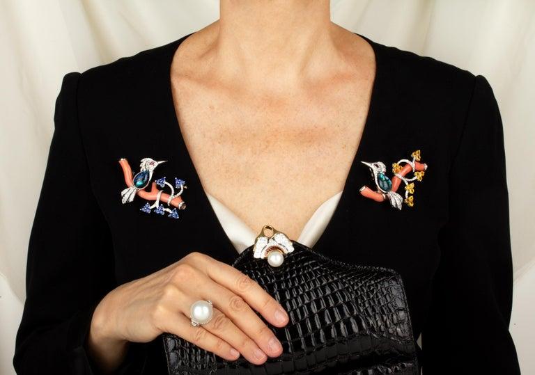 Ella Gafter Love Bird Sapphire Diamond Pin Brooch  For Sale 12