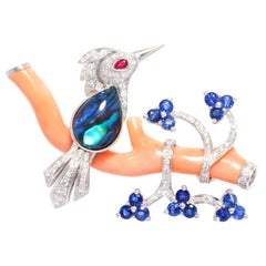 Ella Gafter Love Bird Diamond Brooch Pin with Coral and Blue Sapphire