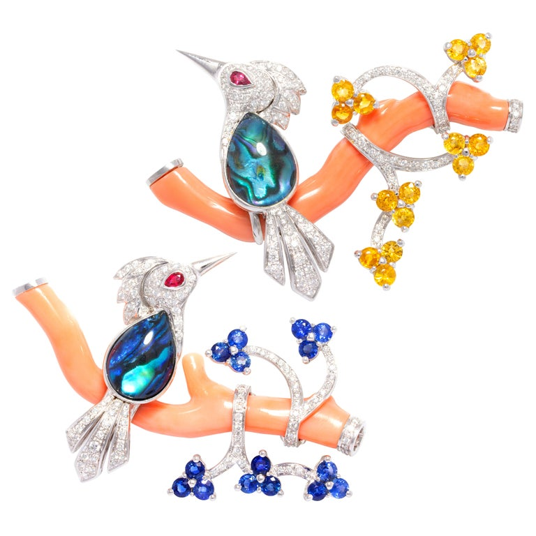 Ella Gafter Love Bird Diamond Sapphire Brooch Pin  For Sale 11