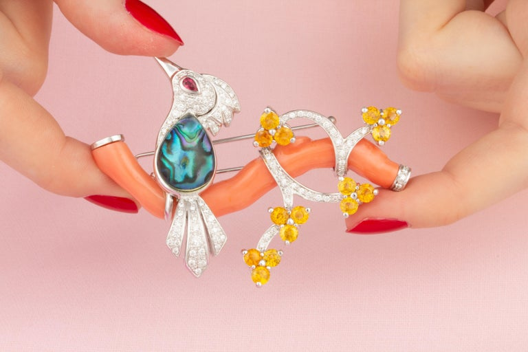 Artist Ella Gafter Love Bird Diamond Sapphire Brooch Pin  For Sale