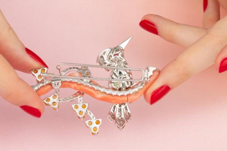 Round Cut Ella Gafter Love Bird Diamond Sapphire Brooch Pin  For Sale