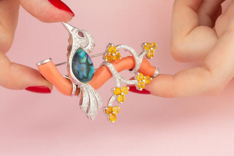 Women's Ella Gafter Love Bird Diamond Sapphire Brooch Pin  For Sale