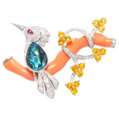 Ella Gafter Love Bird Diamond Brooch Pin with Coral and Yellow Sapphire