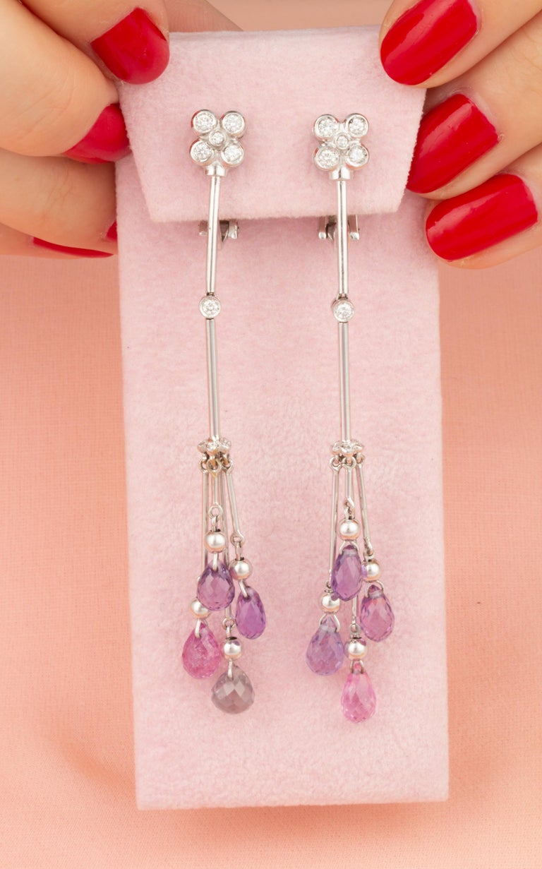 Round Cut Ella Gafter Multi-Color Sapphire and Diamond Drop Earrings For Sale
