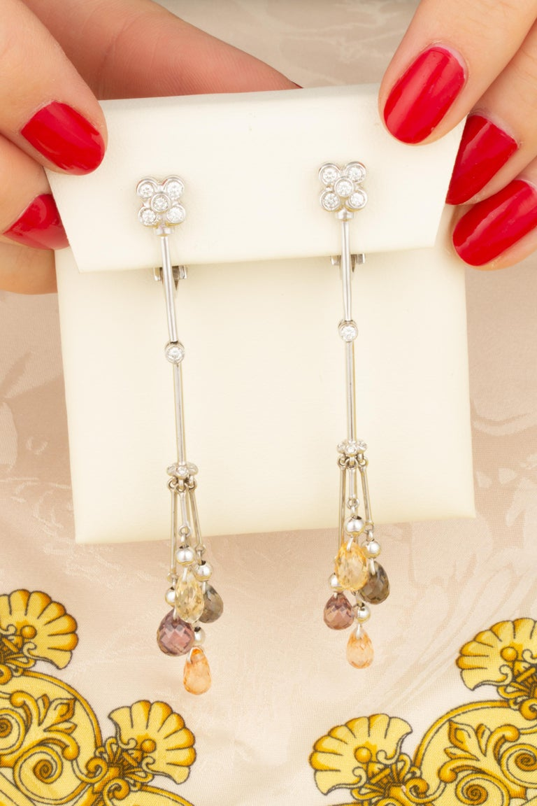 Artist Ella Gafter Multicolor Sapphire and Diamond Drop Earrings For Sale
