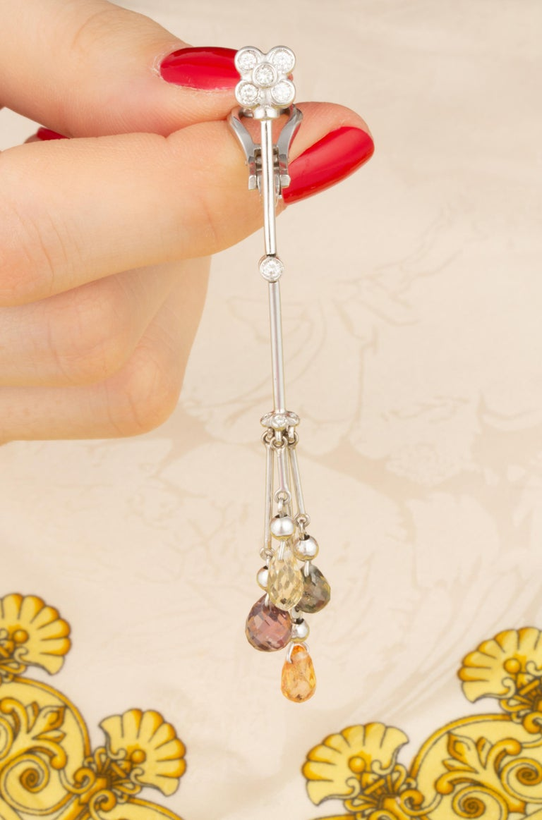Ella Gafter Multicolor Sapphire and Diamond Drop Earrings For Sale 2