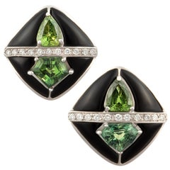 Ella Gafter Onyx and Diamond Cufflinks Green Sapphire