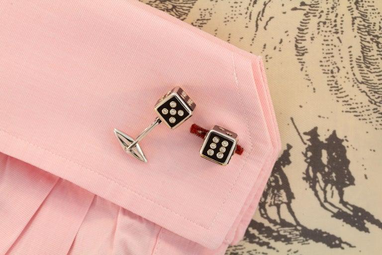 Brilliant Cut Ella Gafter Diamond Onyx Dice Cufflinks For Sale