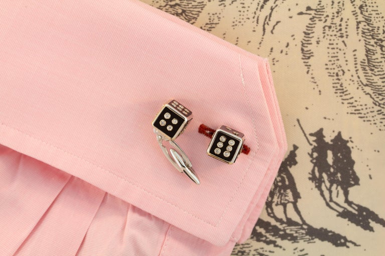 Ella Gafter Diamond Onyx Dice Cufflinks In New Condition For Sale In New York, NY