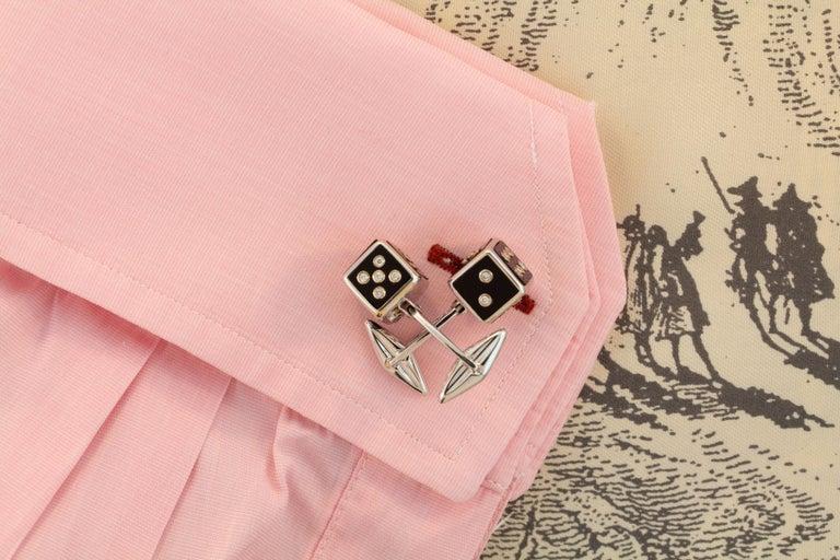 Ella Gafter Diamond Onyx Dice Cufflinks For Sale 1