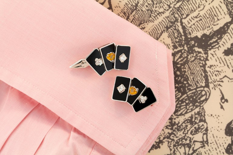 Artist Ella Gafter Onyx and Diamond Playing Card Cufflinks For Sale