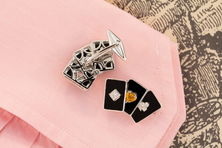 Men's Ella Gafter Onyx and Diamond Playing Card Cufflinks For Sale