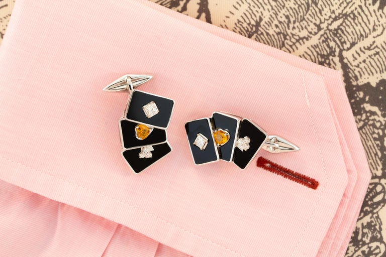 Ella Gafter Onyx and Diamond Playing Card Cufflinks For Sale 1