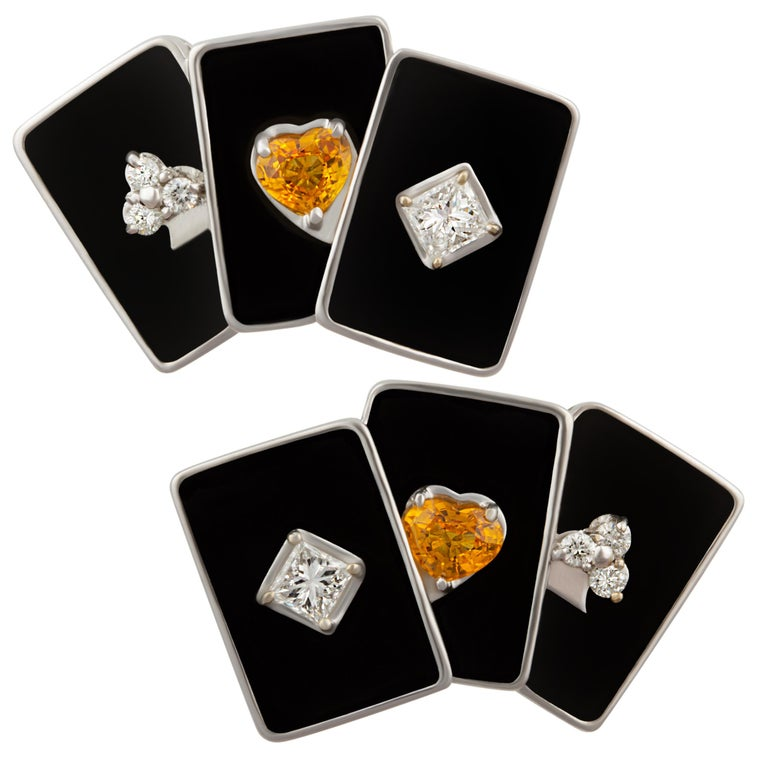 Ella Gafter Onyx and Diamond Playing Card Cufflinks For Sale