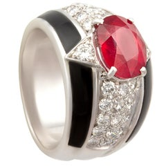 Ella Gafter Onyx Ruby Diamond Cocktail Ring
