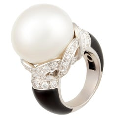 Ella Gafter Onyx South Sea Pearl and Diamond Cocktail Ring