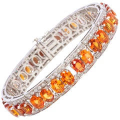 Ella Gafter Orange Sapphire and Diamond Bracelet