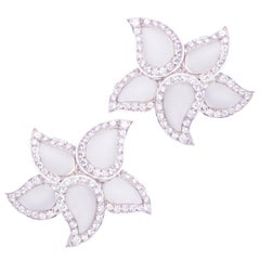 Ella Gafter Pave Diamond Earrings White Gold and Crystal Clip-On