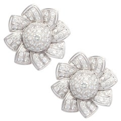 Ella Gafter Pave Diamond Earrings White Gold Flower Clip-On