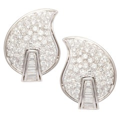 Ella Gafter Pave Diamond Earrings White Gold Flower Leaf Clip-On