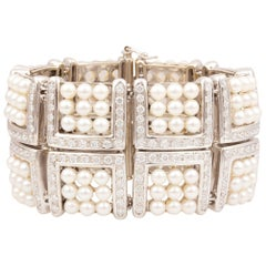Ella Gafter Pearl Diamond Cuff Bracelet