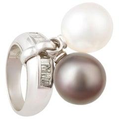 Ella Gafter Pearl and Diamond Ring South Sea and Tahitian Pearls
