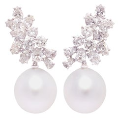Ella Gafter Pearl Diamond Cluster Earrings
