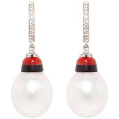 Ella Gafter Pearl Diamond Coral Onyx Drop Earrings