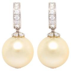 Ella Gafter Pearl Diamond Drop Earrings