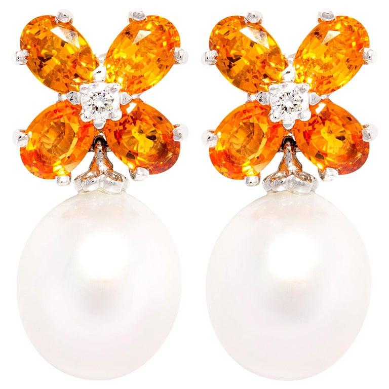 Ella Gafter Pearl Orange Sapphire Diamond Flower Earrings For Sale