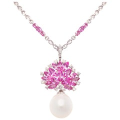 Ella Gafter Pearl Pink Sapphire Diamond Necklace