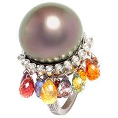 Ella Gafter Pearl Sapphire Diamond Ring