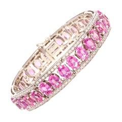 Ella Gafter Pink Sapphire and Diamond Bangle Bracelet