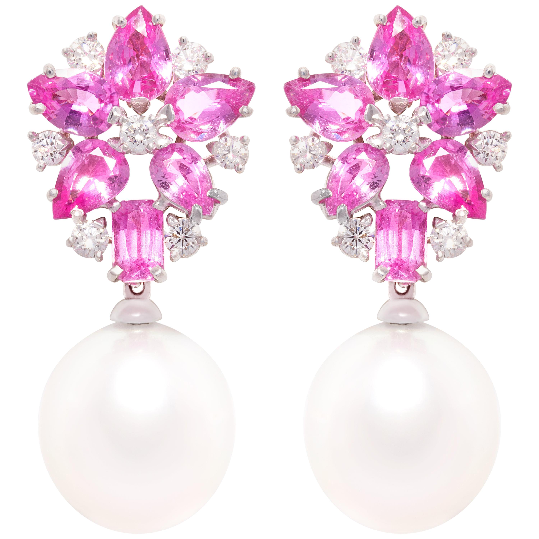 Ella Gafter Pink Sapphire Pearl Diamond Earrings