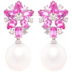 Ella Gafter Pink Sapphire and Diamond Drop Earrings South Sea Pearl
