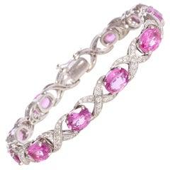 Ella Gafter Pink Sapphire and Diamond Flexible Bracelet