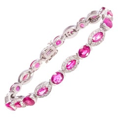 Ella Gafter Pink Sapphire and Diamond Flexible Tennis Bracelet